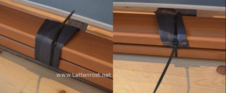 Entfernen Sie bitte den Kabelbinder am Kopf und Fußteil um den Lattenrost zu verstellen.